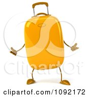Clipart 3d Yellow Suitcase Shrugging Royalty Free CGI Illustration