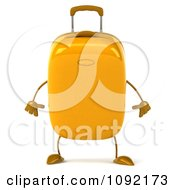 Clipart 3d Yellow Suitcase Pouting Royalty Free CGI Illustration