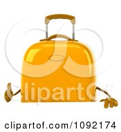 Clipart 3d Yellow Suitcase Holding A Thumb Up Over A Sign Royalty Free CGI Illustration