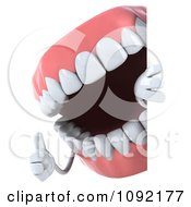 Clipart 3d Dentures Character Holding A Sign 1 Royalty Free CGI Illustration