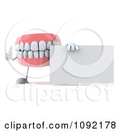 Clipart 3d Dentures Character Holding A Sign 2 Royalty Free CGI Illustration