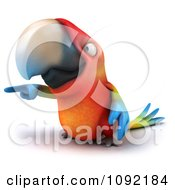 Clipart 3d Macaw Parrot Pointing Left Royalty Free CGI Illustration