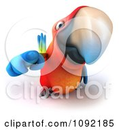 Clipart 3d Macaw Parrot Pointing Outwards Royalty Free CGI Illustration