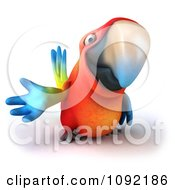 Clipart 3d Macaw Parrot Presenting 1 Royalty Free CGI Illustration