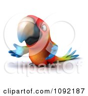 Clipart 3d Macaw Parrot Presenting 2 Royalty Free CGI Illustration