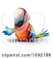 Clipart 3d Macaw Parrot Presenting 3 Royalty Free CGI Illustration