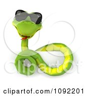 Clipart 3d Green Snake Wearing Shades Over A Sign 1 Royalty Free CGI Illustration