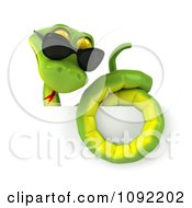 Clipart 3d Green Snake Wearing Shades Over A Sign 2 Royalty Free CGI Illustration