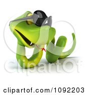 Clipart 3d Green Snake Wearing Shades 1 Royalty Free CGI Illustration