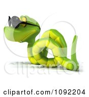 Clipart 3d Green Snake Wearing Shades 2 Royalty Free CGI Illustration