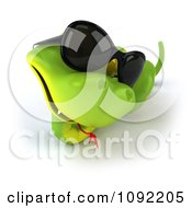 Clipart 3d Green Snake Wearing Shades 3 Royalty Free CGI Illustration