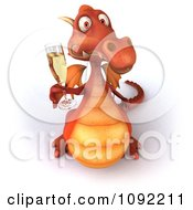 Clipart Toasting 3d Red Dragon With Champagne 2 Royalty Free CGI Illustration