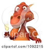 Clipart Toasting 3d Red Dragon With Champagne And A Sign 1 Royalty Free CGI Illustration