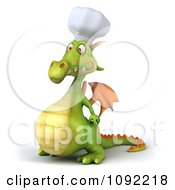 Clipart 3d Green Dragon Chef Facing Left Royalty Free CGI Illustration