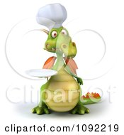 Clipart 3d Green Dragon Chef Holding A White Plate Royalty Free CGI Illustration