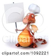 Clipart 3d Red Chef Dragon With A Sign 1 Royalty Free CGI Illustration
