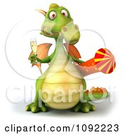 Clipart 3d Toasting Green Dragon With Champagne And Rocket 1 Royalty Free CGI Illustration
