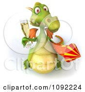 Clipart 3d Toasting Green Dragon With Champagne And Rocket 2 Royalty Free CGI Illustration