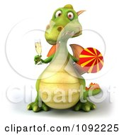 Clipart 3d Toasting Green Dragon With Champagne And Rocket 3 Royalty Free CGI Illustration