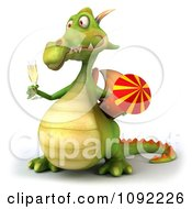 Clipart 3d Toasting Green Dragon With Champagne And Rocket 4 Royalty Free CGI Illustration