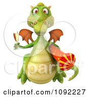 Clipart 3d Toasting Green Dragon With Champagne And Rocket 5 Royalty Free CGI Illustration
