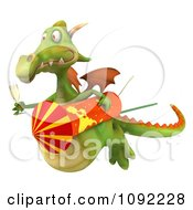Clipart 3d Flying Green Dragon With Champagne And Rocket Royalty Free CGI Illustration