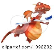 Clipart 3d Dental Dragon Flying With A Tooth Brush 2 Royalty Free CGI Illustration
