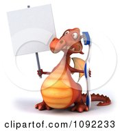 Clipart 3d Dental Dragon With A Sign And Tooth Brush 1 Royalty Free CGI Illustration