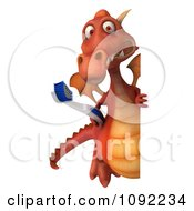 Clipart 3d Dental Dragon With A Sign And Tooth Brush 2 Royalty Free CGI Illustration