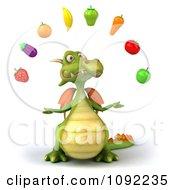 Clipart 3d Green Dragon Juggling Healthy Produce 1 Royalty Free CGI Illustration