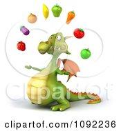 Clipart 3d Green Dragon Juggling Healthy Produce 2 Royalty Free CGI Illustration