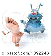 Clipart 3d Blue Rodney Germ Chasing A Foot 2 Royalty Free CGI Illustration
