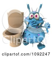 Clipart 3d Blue Rodney Germ Holding A Thumb Down By A Toilet Royalty Free CGI Illustration