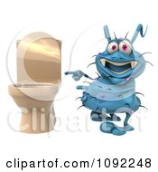 Clipart 3d Blue Rodney Germ Pointing At A Toilet Royalty Free CGI Illustration