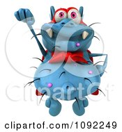Clipart 3d Blue Super Hero Rodney Germ Flying 1 Royalty Free CGI Illustration