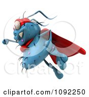 Clipart 3d Blue Super Hero Rodney Germ Flying 2 Royalty Free CGI Illustration