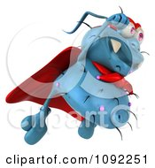 Clipart 3d Blue Super Hero Rodney Germ Flying 3 Royalty Free CGI Illustration
