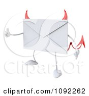 3d Devil Email Envelope Character Holding A Thumb Up