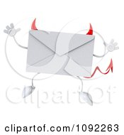 Clipart 3d Devil Email Envelope Character Jumping Royalty Free CGI Illustration