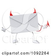 Clipart 3d Devil Email Envelope Character Shrugging Royalty Free CGI Illustration