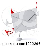 Clipart 3d Devil Email Envelope Holding A Thumb Up By A Sign Royalty Free CGI Illustration