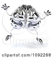 Clipart 3d Brain Character Jumping Royalty Free CGI Illustration by Julos