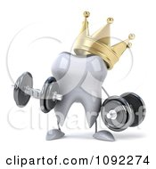 Clipart 3d Strong Crowned Tooth Lifting Dumbbells 1 Royalty Free CGI Illustration