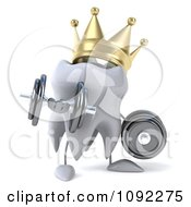 Clipart 3d Strong Crowned Tooth Lifting Dumbbells 2 Royalty Free CGI Illustration