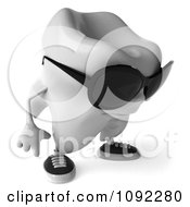 Clipart 3d Tooth Character Pouting In Sunglasses Royalty Free CGI Illustration