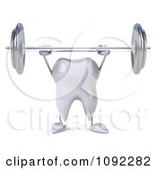 Clipart 3d Tooth Character Lifting Up A Barbell 1 Royalty Free CGI Illustration