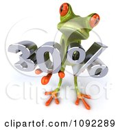 Clipart 3d Green Springer Frog Holding Up A 30 Percent Sales Promotion Discount Royalty Free CGI Illustration