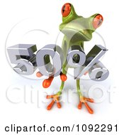 Clipart 3d Green Springer Frog Holding Up A 50 Percent Sales Promotion Discount Royalty Free CGI Illustration