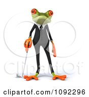 Clipart 3d Golfer Business Springer Frog Leaning On A Club Royalty Free CGI Illustration