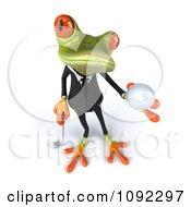 Clipart 3d Golfer Business Springer Frog Holding A Ball 1 Royalty Free CGI Illustration